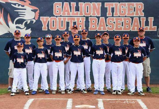 Courtesy photo Galion's 12-U all-star team has advanced to the semifinals of the Disrict 7 Little League state tournament at Heise Park. The locals beat Clyde 18-2 on Saturday, and beat Bucyrus 6-4 on Sunday, in extra innings. Their next game is Thursday, at 6 p.m. at Heise Park. If they win, they'll play in the District 7 championship game at 6 p.m. Saturday. If Galion loses on Thursday, the team is still alive in the tournament, but will have to claw its way into the final via the losers bracket finale. That game is 6 p.m. Friday. Members of the 12U team include, in the front row: CJ Ganshorn, Jack Karam, Carter Smith, Jayden Leach, Landon Campbell, Braylen Hart and Nick Eachus. In the back row are Coach Bill Ganshorn, Bryce Kimberlin, Justin Lester, Nicholas McMullen, Coach Dan Nay, Gage Weaver, Kooper McCabe, Drew Yetter and Coach Steve Hart.