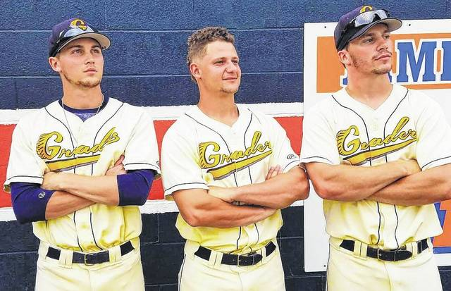 Chad Clinger | Galion Inquirer Brady Hettinger, Braxton Giavedoni and Brandt Nowaskie (Left to Right) earned the Graders Greats of the Week honors for their performances in games played June 27 through July 1.