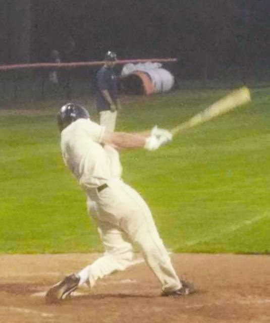 Chad Clinger | Galion Inquirer Graders' lefty Austin Hathaway takes a healthy cut during GLSCL action on Friday night. Galion would drop the contest to the Grand Lake Mariners; 6-3.