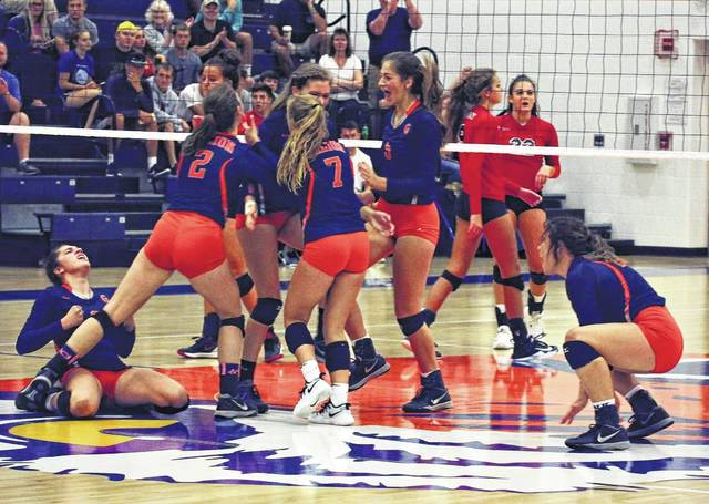 Erin Miller | Galion Inquirer The Lady Tigers volleyball team remains undefeated in MOAC play after a 3-1 win over the Pleasant Lady Spartans on Tuesday in Galion. With that win, Galion improves to 11-3 overall and sits atop the conference at a perfect 8-0.
