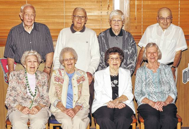 Photo courtesy Photorama Eight members of the Galion High School class of 1944 and 12 guests celebrated their 73rd reunion Sept. 17 at Pizza Hut in Galion. In attendance were: seated: Virginia Kreps Barr, Carolyn Brooks Widener, Marjorie Staub Shaffer and Ruth Ricker Ritchey; standing: Kenneth Hayes, Jerry James, Emery Shaffer and Donald Shifley. The luncheon included viewing photos of former reunions and a lot of catching up. Each classmate received an 8x10 photo of the classsmates and another photo of the whole group. The photos were taken before the luncheon by Photorama Studio.