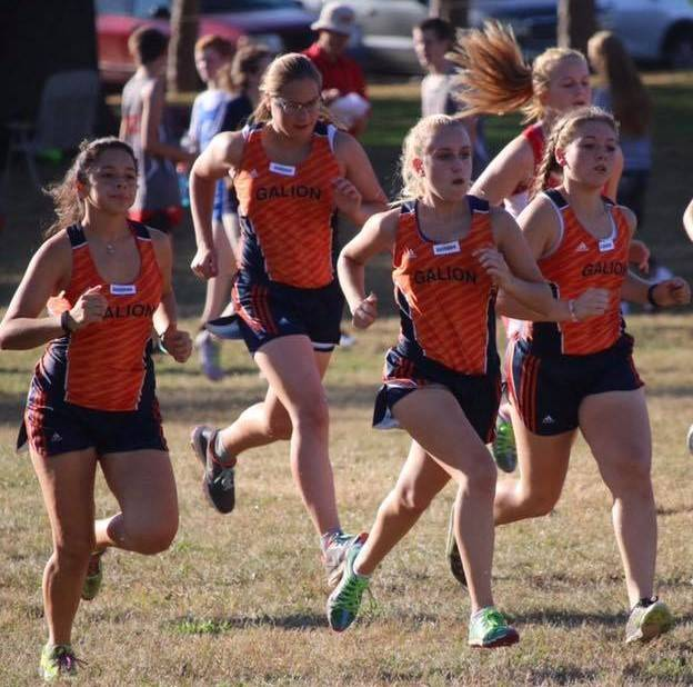 Photo courtesy of Noresa Nickels The Galion Lady Tigers cross country team was one of three local teams running in the Crestline High School Cross Country meet on Tuesday afternoon at Amann's Reservoir Park in Galion. The Lady Tigers finished sixth overall as a team on the day.