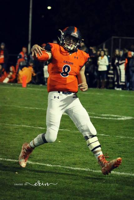 Erin Miller   Galion Inquirer Galion quarterback Harrison Ivy, wearing No. 8 in honor of his father, Kendall Ivy, attempts a pass during Friday night's season finale at Unckrich Stadium. The Tigers dropped the contest to the Buckeye Valley Barons; 44-14.