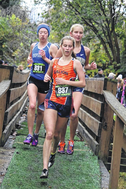 Photo courtesy of Noresa Nickels The Galion Lady Tigers Airyona (AJ) Nickels running in the regional cross country meet on Saturday at Hedges Boyer Park in Tiffin. Nickels would see her season end, finishing 26th overall.