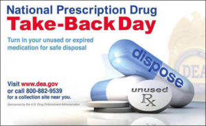 Prescription drug take-back day is Oct. 28