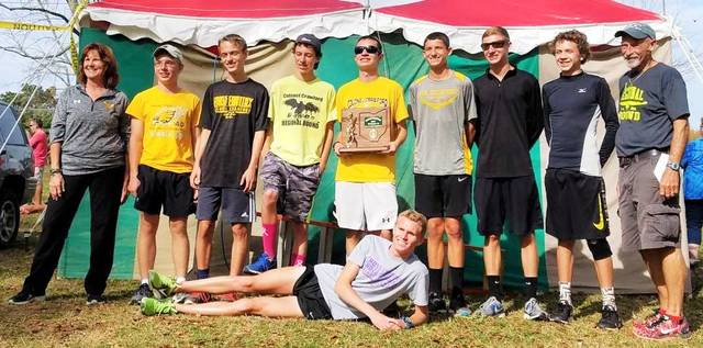Chad Clinger | Galion Inquirer The Colonel Crawford Eagles boys cross country team advances to the Division III regional meet in Tiffin after winning the district championship on Saturday at Amann's Reservoir Park.
