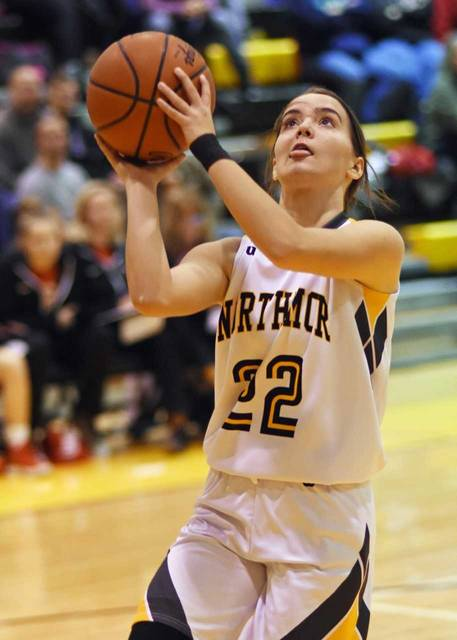 Don Tudor | Galion Inquirer Northmor's Addie Farley posted 16 points to lead the Lady Knights on Saturday afternoon against the Centerburg Lady Trojans. Centerburg would come away with the conference win, besting the hosting Knights; 49-45.