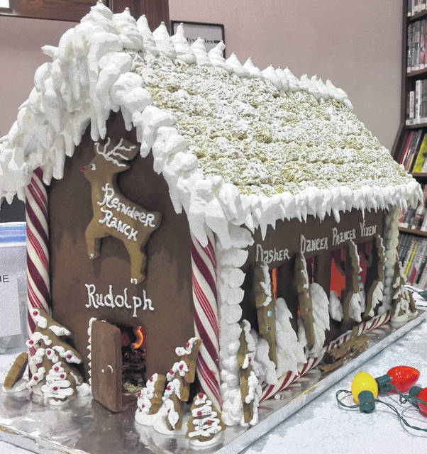 Courtesy photo Raffle tickets are available for $2 at Galion Public Library for this large Reindeer Ranch gingerbread house.