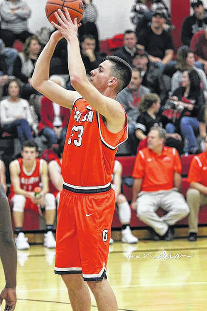 Erin Miller | Galion Inquirer Colten Skaggs concentrates on his free-throw attempt during MOAC basketball action last Friday evening at Pleasant. Galion opened their conference schedule with a 65-44 loss to the Spartans.