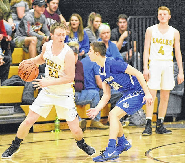 Don Tudor | Galion Inquirer Hayden Bute had a big night for the Colonel Crawford Eagles on Saturday, scoring 16 points to help the home team come away with the N-10 victory over the visiting Wynford Royals; 65-46.