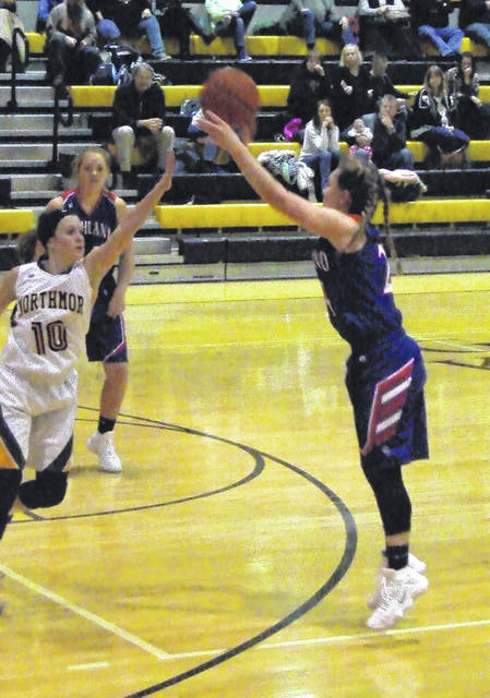 Highland's Erica Sardinha tallied 24 points at Northmor to lead her team to the KMAC win Wednesday.