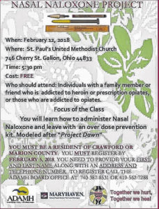 Learn to administor nasal Naloxone on Feb. 12 Galion St. Paul UMC