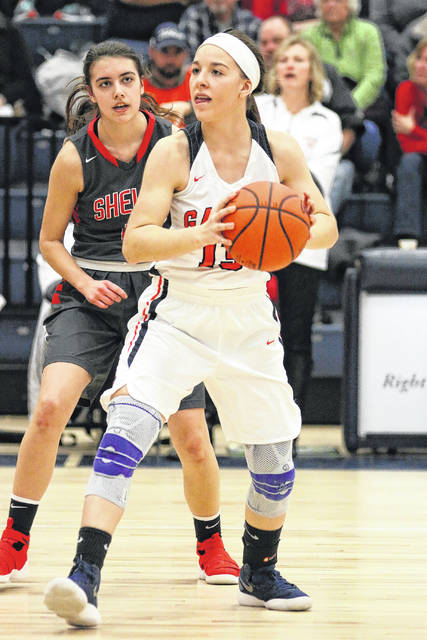Erin Miller | Galion Inquirer The Galion Lady Tigers Gabby Kaple looks for an open teammate during their home, non-conference game against the Shelby Lady Whippets on Tuesday, January 30. Shelby would earn the victory, defeating the hosting Galion squad by a final tally of 64-25.