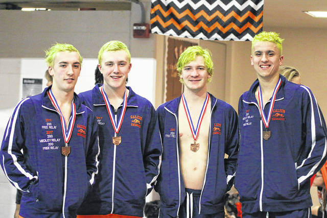 Relay team consisting of Sam Rigdon, Caleb Strack, Luke Eisenaugle, and Clay Karnes