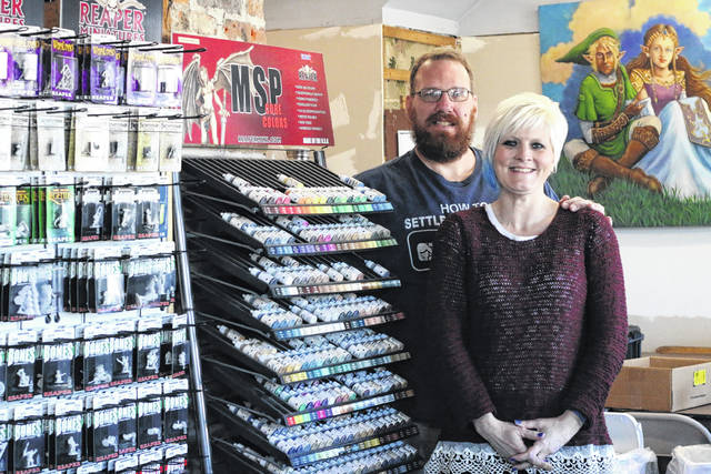 Erin Miller | Galion Inquirer Citadel RPG and Gaming owners Andy and Diana Nolen are shown inside their business located at 343 Harding Way East in Galion. After one year in business, the Nolens are growing their business and looking to the future here in Galion.