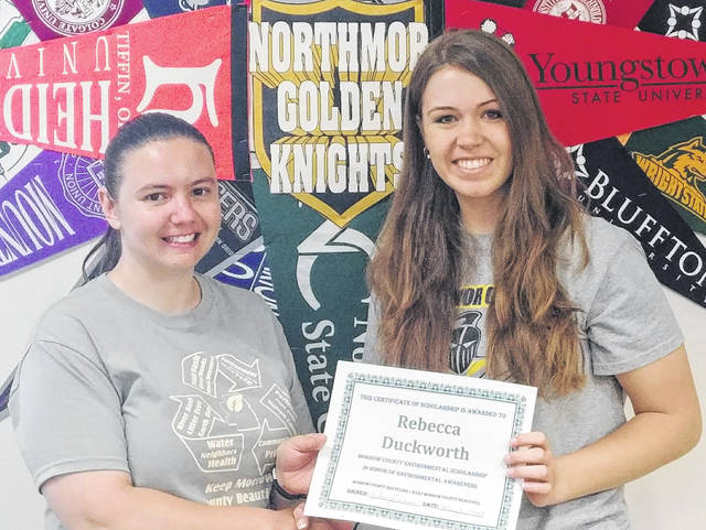 Lindsey Grimm, Director of Morrow County Recycling/Keep Morrow County Beautiful (left) and Rebecca Duckworth, 2018 Environmental Scholarship recipient.