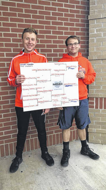 Courtesy photo Tyler Harris (left) and Max Papenhausen stand with their completed first doubles tournament bracket after winning the MOAC Championship on Saturday in Marion.