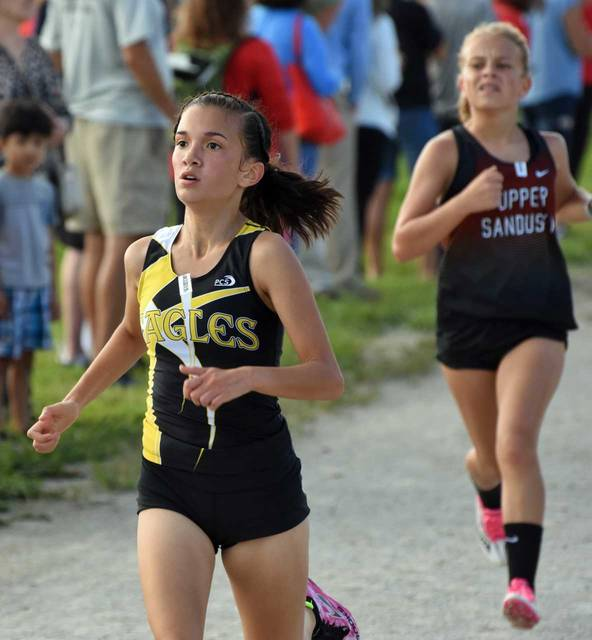 Don Tudor | Galion Inquirer Colonel Crawford's Sheba Sulser was one of 161 high school girls cross country runners in action at the Bucyrus Elks Invite on Saturday. Sulser would finish in 67th on the day as her team ran their way to a fifth place finish in the 12-team field.